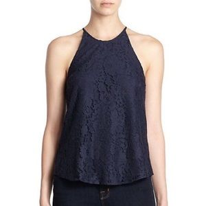 Joie Cualli Navy Lace High Neck Tank Top Small